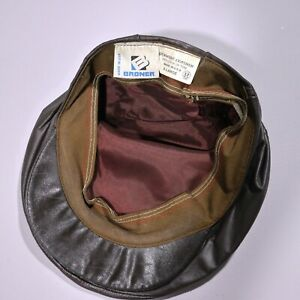 Vintage Broner Leather Cap Brown Hat Cabbie Flat Snap Newsboy USA XL 90s