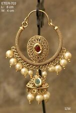 Indian Pakistani Ethnic Chandbali Bali Jhumki Moti Pearl Pink Green Earring 703