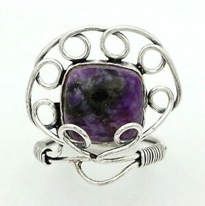Natural Siberian Charoite 925 Sterling Silver Ring Jewelry Sz 6, ED7-2