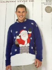 Adult Christmas Sweater Double Knitting Pattern 9722,  32-54 inch chest Sirdar