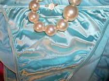 VTG SATIN TIFF BLUE  STRING BIKINI SHINY SKIN PANTIES SKY BLUE TIFFANY BLUE
