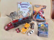 Tonka Fire Truck Car Transporter Spiderman Iron Fist Cars & Dinosaur Bundle