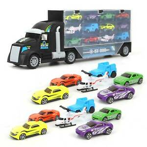 12X Mini Cars Toy Truck Carrier Play Set Transport Car Toys Lorry Truck Kids Toy