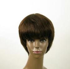 Perruque afro femme 100% cheveux naturel châtain ref SHARONA 01/6