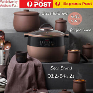 Bear Brand Electric Stew Cup Purple Sand Waterproof Electric Stew Pot 4.5L Home