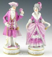 Antique Germany Dresden Figurines VICTORIAN COUPLE MAN WOMAN LOVERS PURPLE GOLD