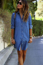 New Womens Fashion Vintage Denim Blue Jeans Casual Shirt Long Sleeve Tops Dress