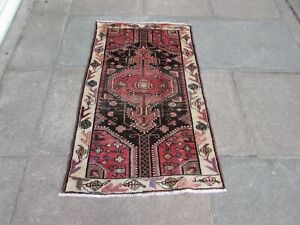 Vintage Traditional Hand Made Oriental Blue Red Pink Wool Small Rug 126x76cm