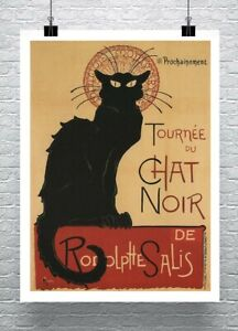 Black Cat Vintage 1896 French Poster Fine Art Giclee Print on Canvas or Paper