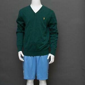 Polo Ralph Lauren Boy's Green Sz MEDIUM Sweater Brown Corduroy Elow Patch V Neck