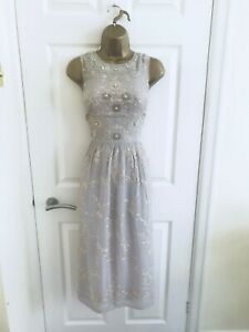Monsoon Grey Embroidered Sequin Sz 12 Fit & Flare Summer Party Midi Dress £149!