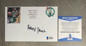 Robert Parish Signed 4x6 Index Card Cut Beckett BAS COA Boston Celtics HOF Auto