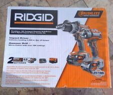 🌟🎈 RIDGID R9205 Brushless 18V Compact Hammer Drill/Diver Impact Driver  Combo