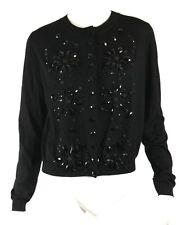 LANVIN Hiver 2013 $2,235 NWT Black Jewel Embellished Cardigan Sweater XL