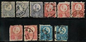 Hungary #9,10,12 1871-2 Used