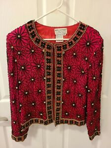Papell Boutique Red Evening Formal Dress Jacket 100% Silk Beaded Large Silk
