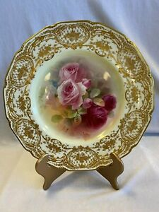 """Royal Doulton Gilt Hand Painted """"service"""" Plate w/ Central Panel of Roses"""