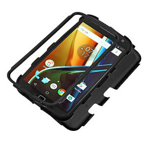 Motorola Moto G4 / G4 PLUS Hybrid Rugged Shockproof Protective Case Cover BLACK