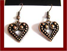 Pendientes de plata tibetana color cobre corazón 1 Nuevo Par 15mm W Gancho Cuelgan Amor