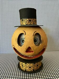 Halloween Paper Mache Pumpkin 🎃 Man DOUBLE Candy Holder Container Bethany Lowe