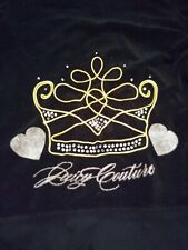 Juicy Couture Small Black Terry Cloth Hoodie W/short Sleeve Crown Rhinestones