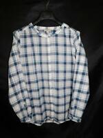 Ann Taylor Loft L Blue Pink White Plaid Blouse Cotton Long Sleeve Shirt Lg