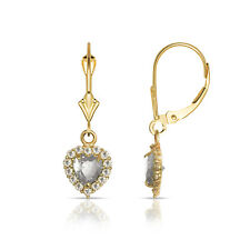 14k Yellow Gold CZ Halo Heart Dangle Leverback Earrings