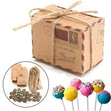50/100pcs Kraft Paper Pillow Favor Candy Boxes Gift Box Wedding Party w/  !! S