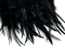 1 Yard - Black Rooster Neck Hackle Saddle Feather Wholesale Trim Craft Supply