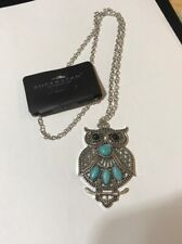 """She's Owl Mine"" Long Pendant Necklace With Blue Sandstone"