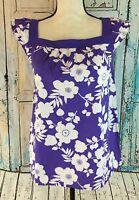 Faded Glory Girl's Tank Top Sz XL 14/16 Purple Floral Cap Sleeve Blouse Shirt