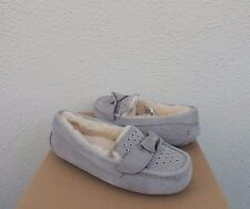UGG RHEANNA GREY GROMMET BOW SHEEPWOOL MOCCASIN SLIPPERS, US 9/ EUR 40 ~NIB
