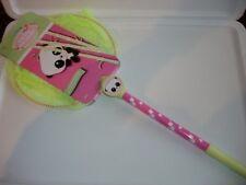 panda pink yellow design kids buttefly net long handle