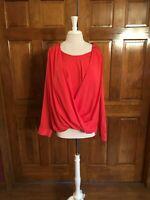 Calvin Klein Melon Color Long Sleeve Twist Front Blouse Zipper Shoulders 1X