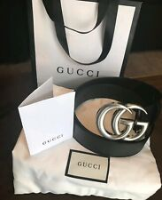 Double GG Gucci Belt, Silver Buckle - black strap, Size: 105cm 34/38