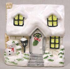 Vintage Christmas Planter INARCO Snow Cvd House w Snowman SCARCE! 1960s