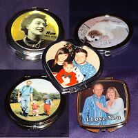 PERSONALISED COMPACT MIRRORS - GIFT VALENTINES DAY BIRTHDAY MOTHER'S DAY WEDDING
