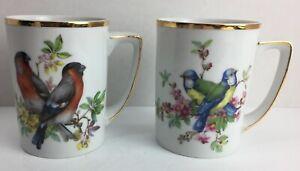 "2 Fine China Bird Mugs Gold Trim By Unique 3 3/4"" Tall Tea Coffee Cup R20A"