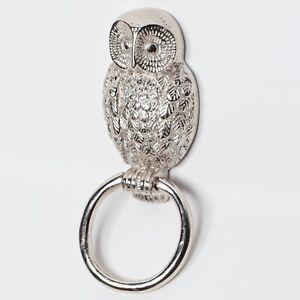 Heavy Chrome Owl Door Knocker - antique vintage animal knockers rapper 21cm
