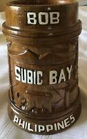 """Vintage Subic Bay """"Bob""""  wooden mug tankard stein Philippines US Navy Submarine"""