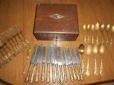 W M Rogers MFG Company Bronze Silverware in Original Wooden Box