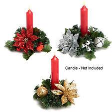 Christmas Poinsettia 13cm Candle Ring Table Centrepiece - Choose Colour