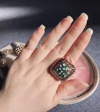 ZARA Gold Turquoise Large Statement Ring Size 7 pristine