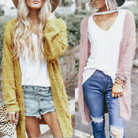 New Women Autumn Winter Fluffy Warm Open Front Cardigan Fleece Fur Shaggy Jacket