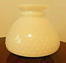 """8"""" Fitter Hobnail White Milk Glass Student Oil Lamp Shade With Shade Tripod"""