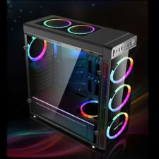 Gaming Computer Case PC ATX Full Tower USB 3.0 4 RGB 120mm Aurora Cooling Fans