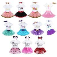 Baby Girls 1st Birthday Romper+Tutu Skirt+Headband Dress Outfit Cake Party Set