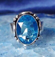 anneau argenté moderne avec pierre topaze bleu 18,1 mm taille 57