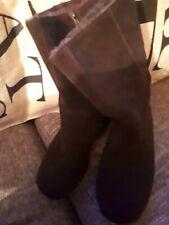 Aerosoles Dark Brown fur lined  Suede Boots Size 8.5
