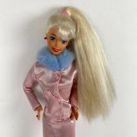 Vintage 90's Barbie Fashion Doll Tan Mattel Pink Furry Coat Airline Stewardess